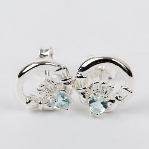 Claddagh Earrings Sterling Silver CZ Blue Topaz Stone (4)
